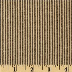 Homespun Yarn Dyed Vertical Stripe Shirting Tan/Black