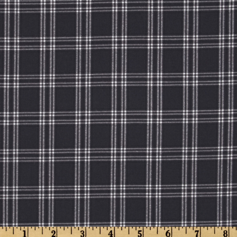 Designer Yarn Dyed Suiting Plaid Navy/White Fabric