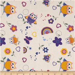 Tossed Owls & Butterflies Cream/Multi Fabric