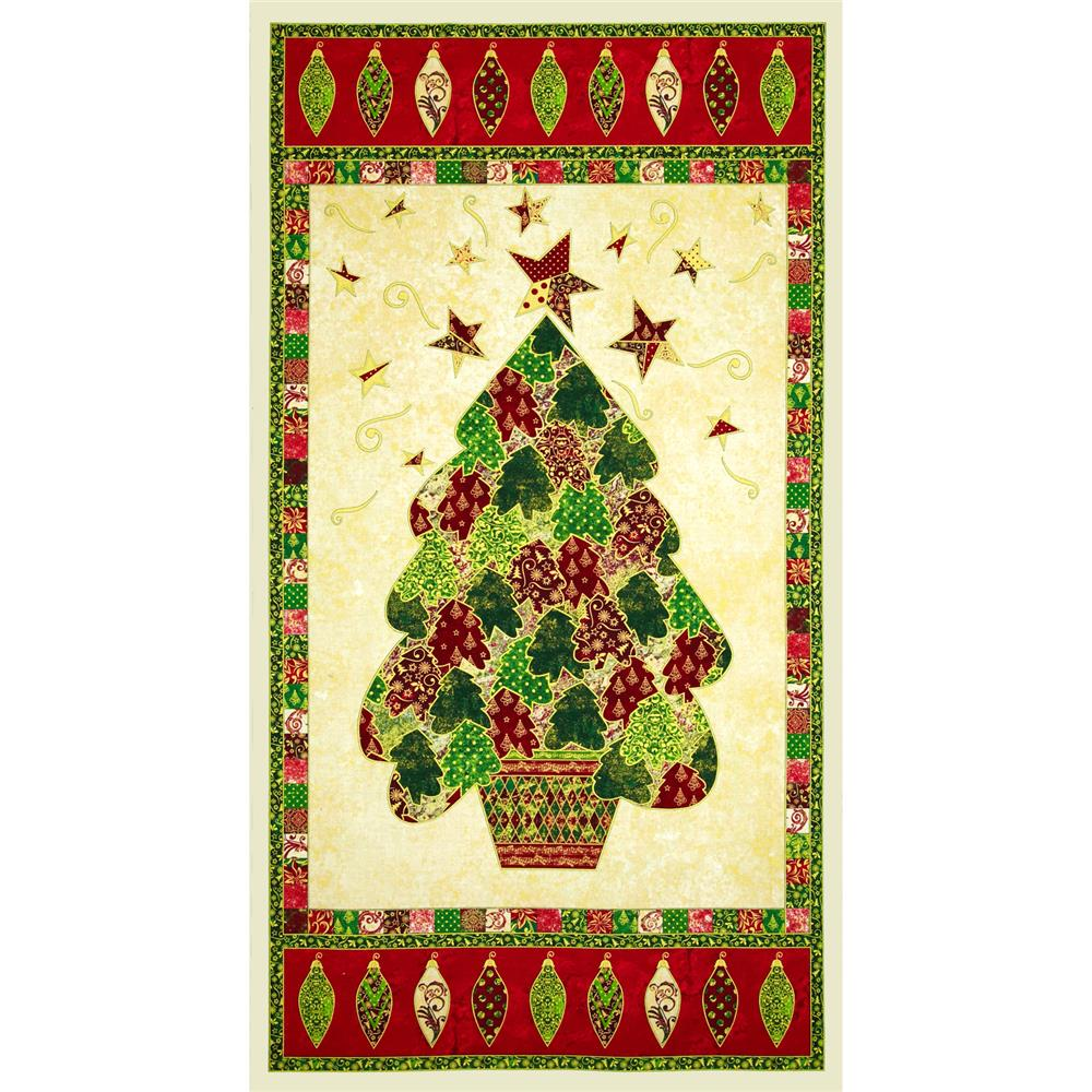 "Marblehead Glistening Metallics III 24"" Holiday Tree Panel Multi"