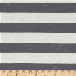 Yarn Dyed Jersey Knit Stripes Grey/White