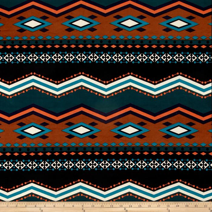 Stretch ITY Knit Chevron Dot Teal Orange