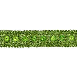 3/4'' Adriana Metallic Sequin Braid Trim Roll Lime