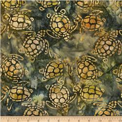 Michael Miller Batik Sea Turtles Khaki