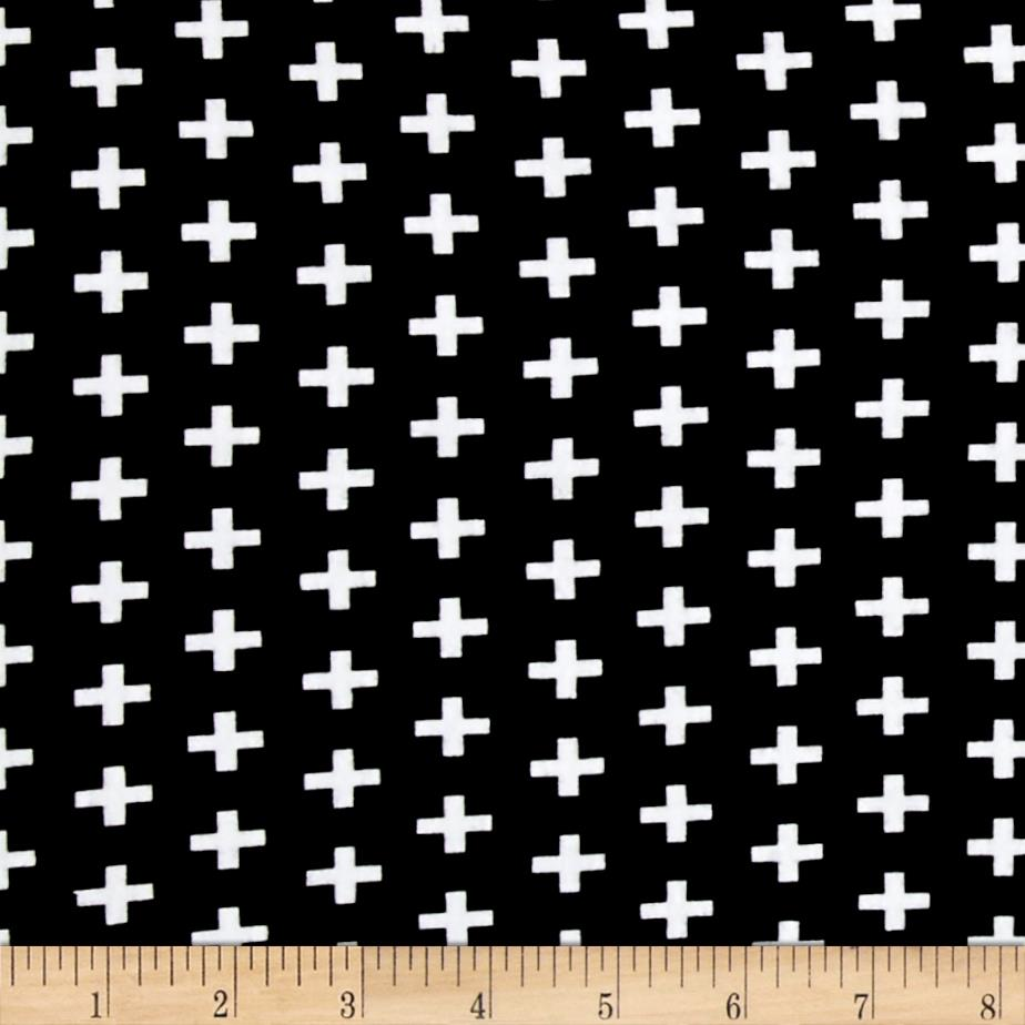 Kaufman Laguna Stretch Jersey Knit Remix Crosses Black/White Fabric