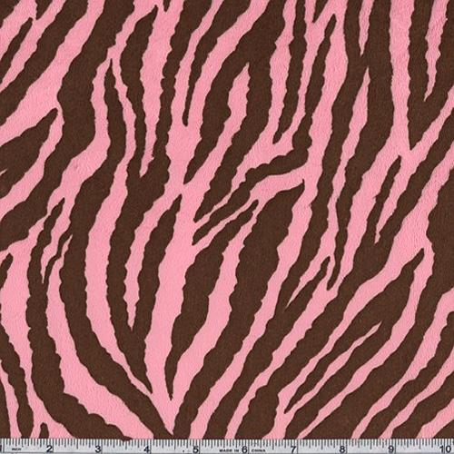 Minky Cuddle Zebra Hot Pink/Brown