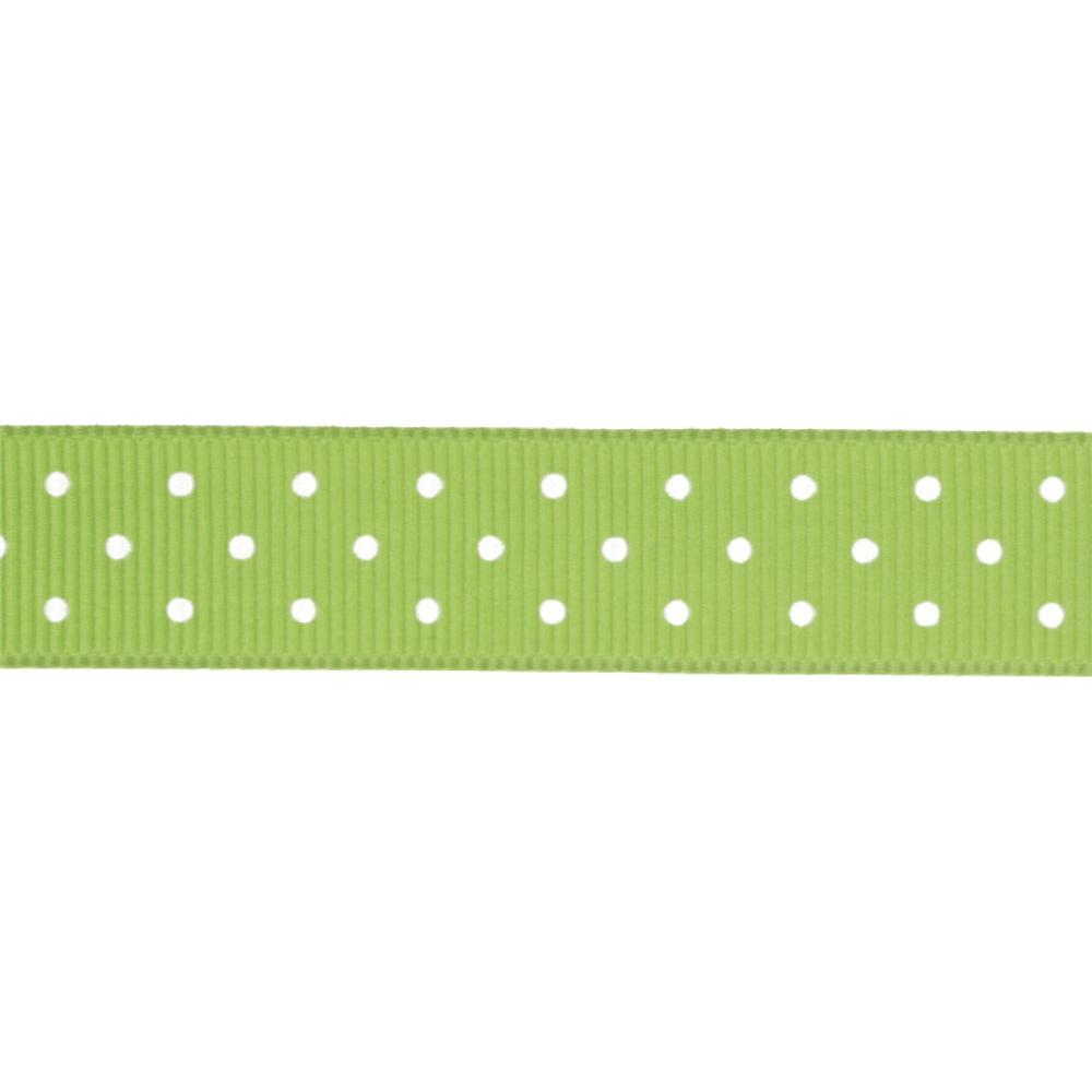 "Riley Blake 5/8"" Grosgrain Ribbon Mini Dot Lime"