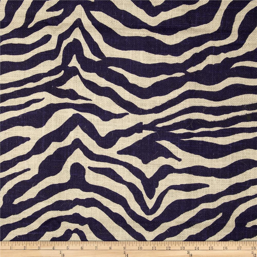 Printed Burlap Zebra Royal