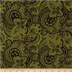 Bonsoir Flannel Large Floral Tonal Green