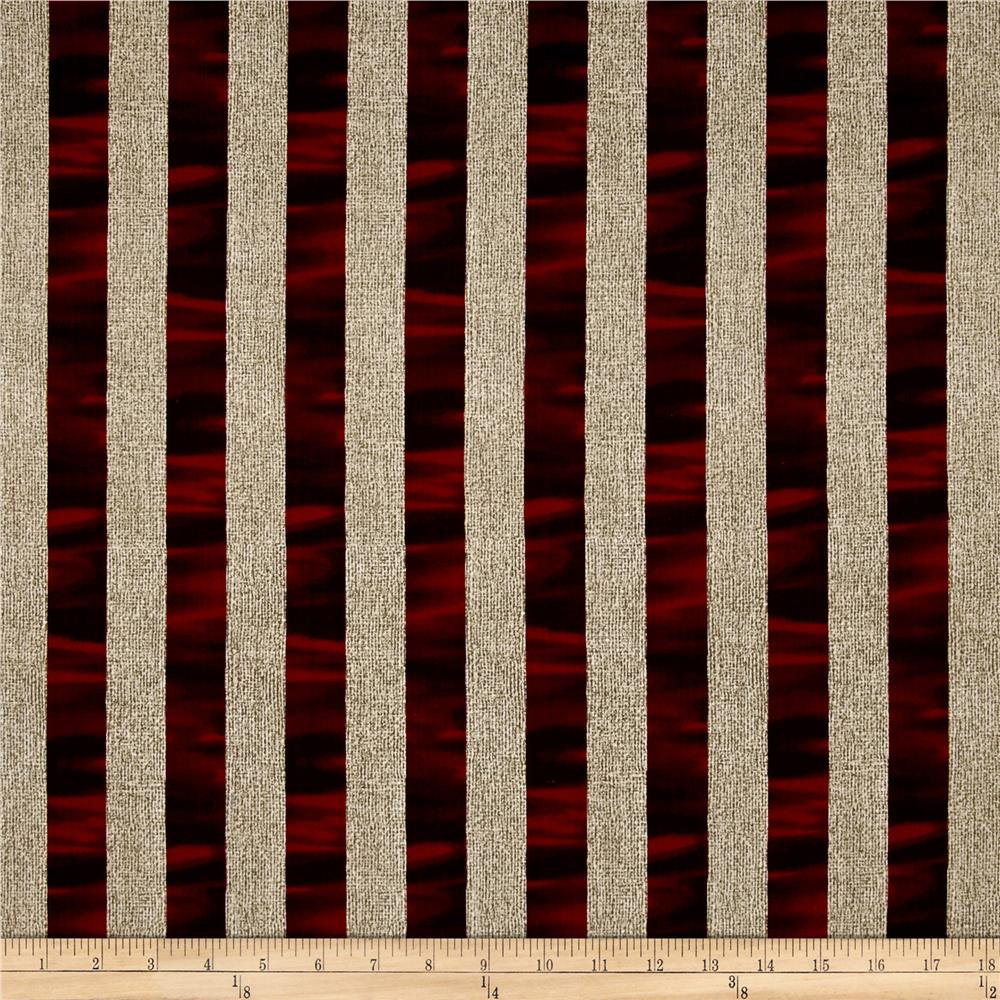 Oh My Stars Weathered Channel Stripe Linen/Dark Red Fabric By The Yard