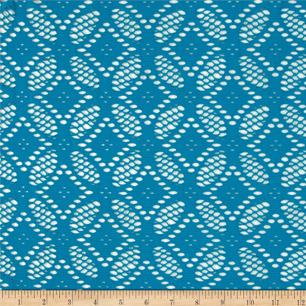 Diamond Floral Crochet Lace Stretch Knit Teal Fabric By The Yard