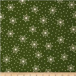 Crazy for Christmas Flannel Tossed Snowflake Green