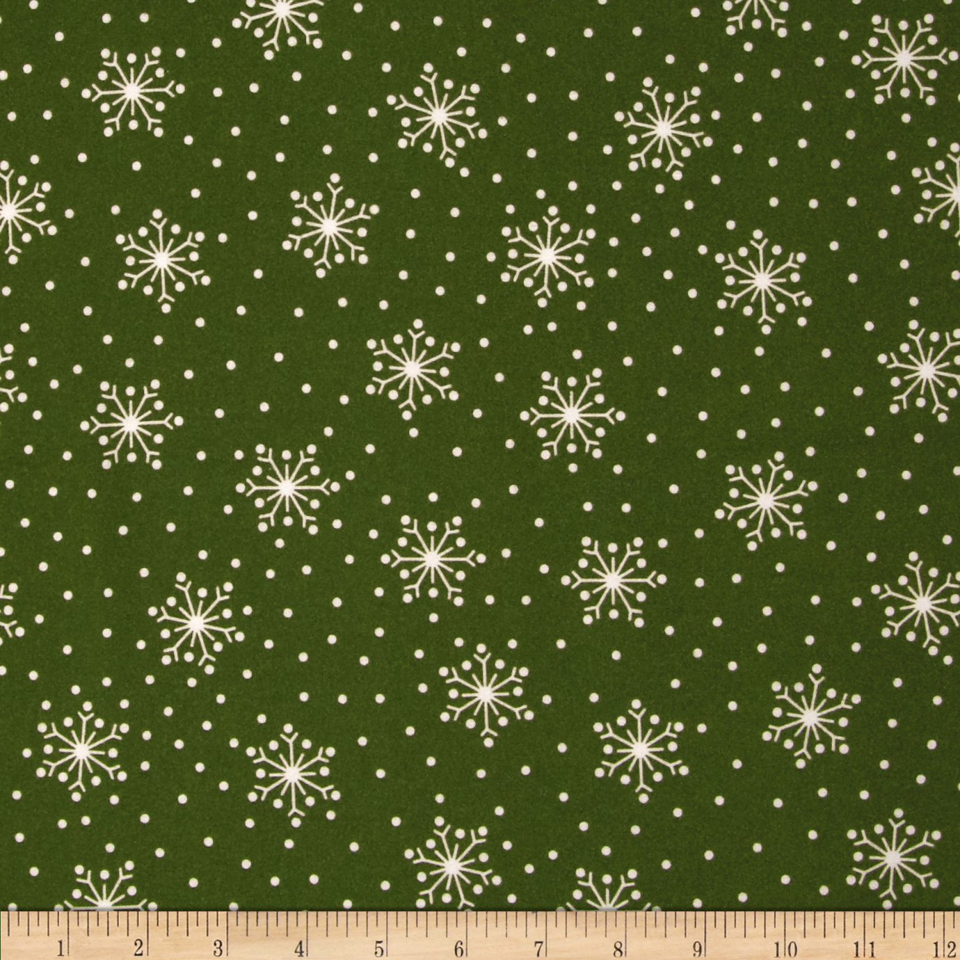 Crazy for Christmas Flannel Tossed Snowflake Green Fabric by E. E. Schenck in USA