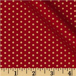 Kaufman Spot On Metallic Pindot Scarlet Fabric