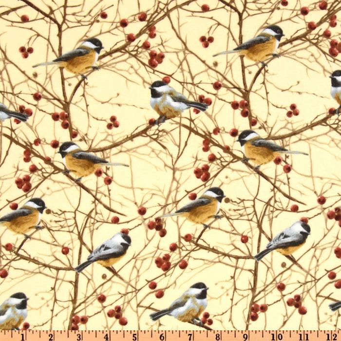 Timeless Treasures Cabin Fever Flannel Birds Cream