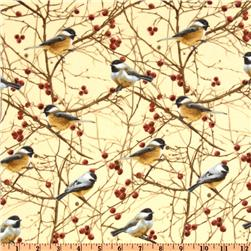 Timeless Treasures Cabin Fever Flannel Birds Cream Fabric