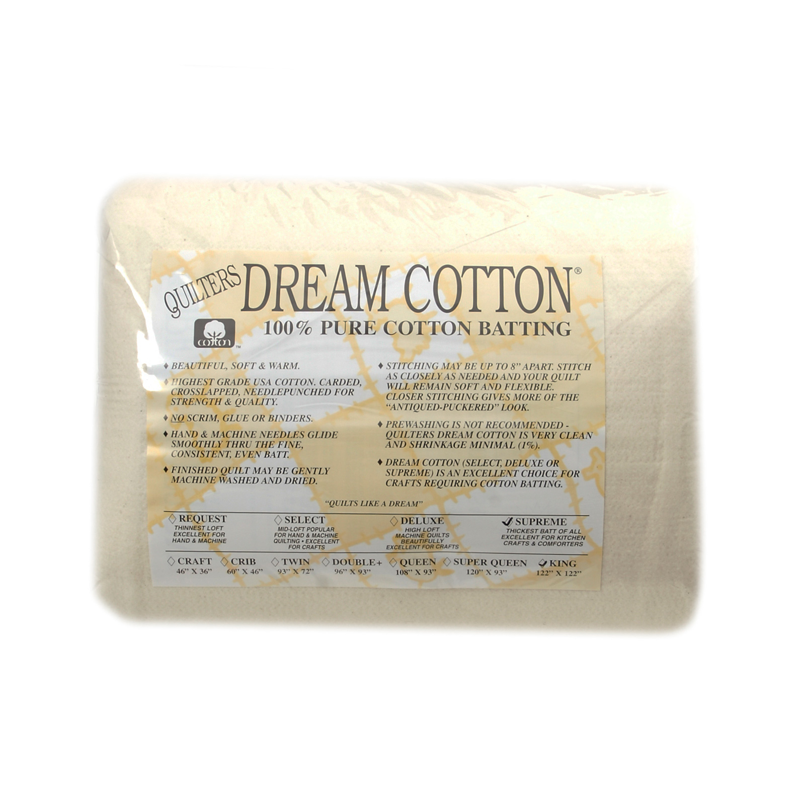 Quilter's Dream Natural Cotton Supreme Batting (122'' x 120'') King by Quilter's Dream in USA
