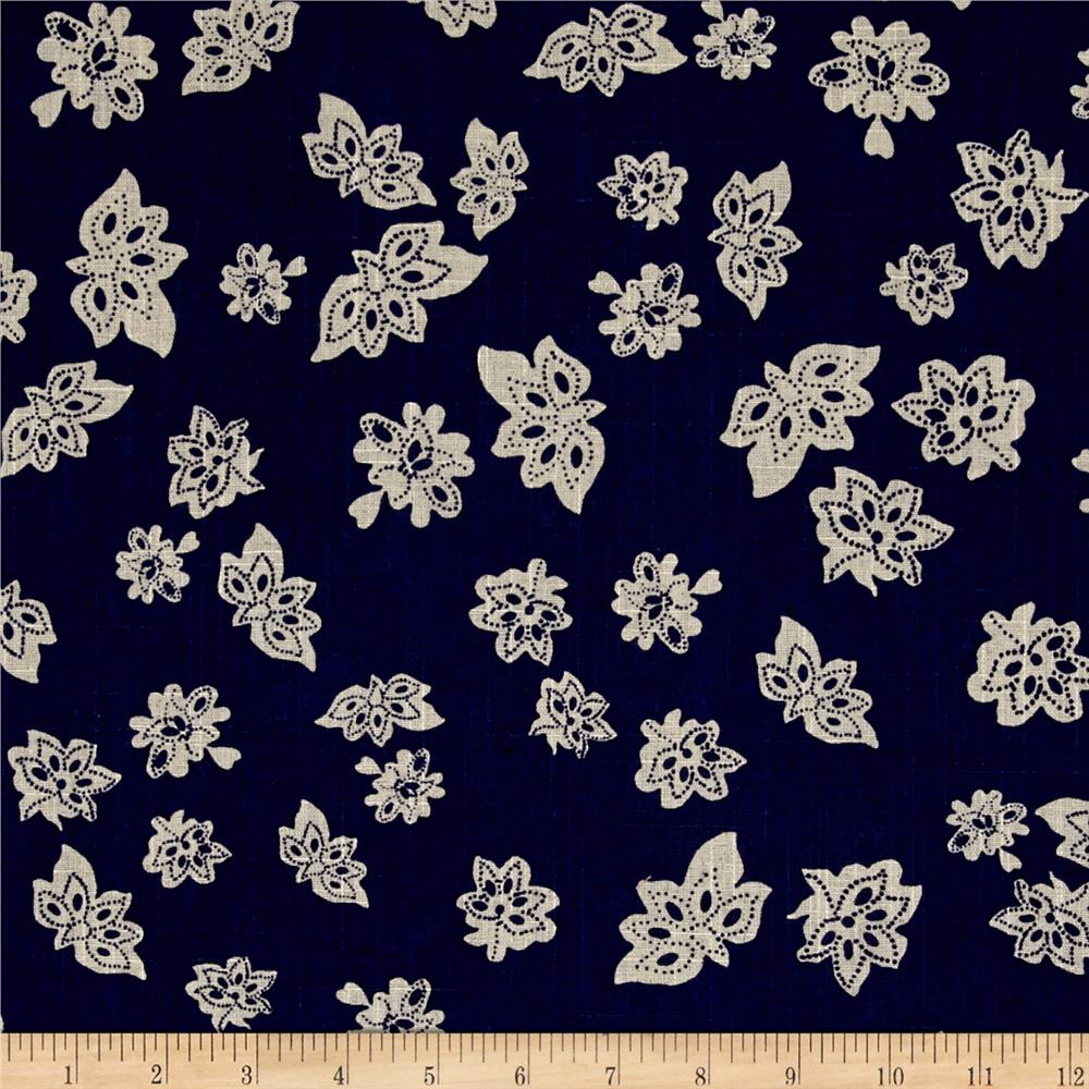 Windham Low Country Indigo Linen Tossed Flowers Navy