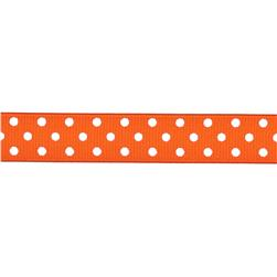"5/8"" Grosgrain Ribbon Polka Dots Orange/White"