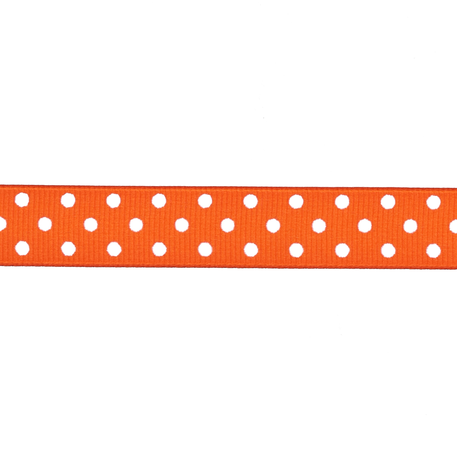 5/8'' Grosgrain Ribbon Polka Dots Orange/White Fabric