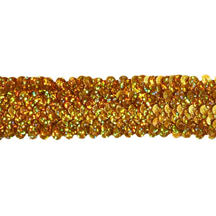 "1 1/2"" Stretch Starlight Sequin Trim Gold"