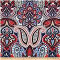 Bubble Crepe Stretch Paisley Cherry/Navy
