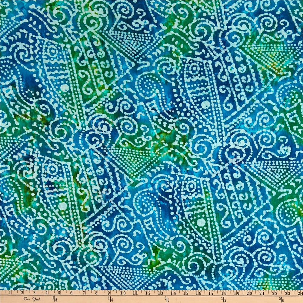 Indian Batik Crinkle Cotton Print Ethnic Patchwork Blue/Green