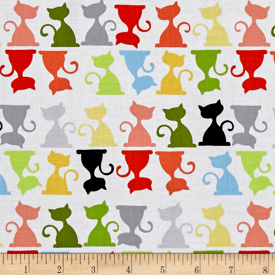 Susybee Purrl the Cat Silouettes White/Multi Fabric by Susybee in USA
