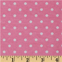 Aunt Polly's Flannel Small Polka Dots Pink/White