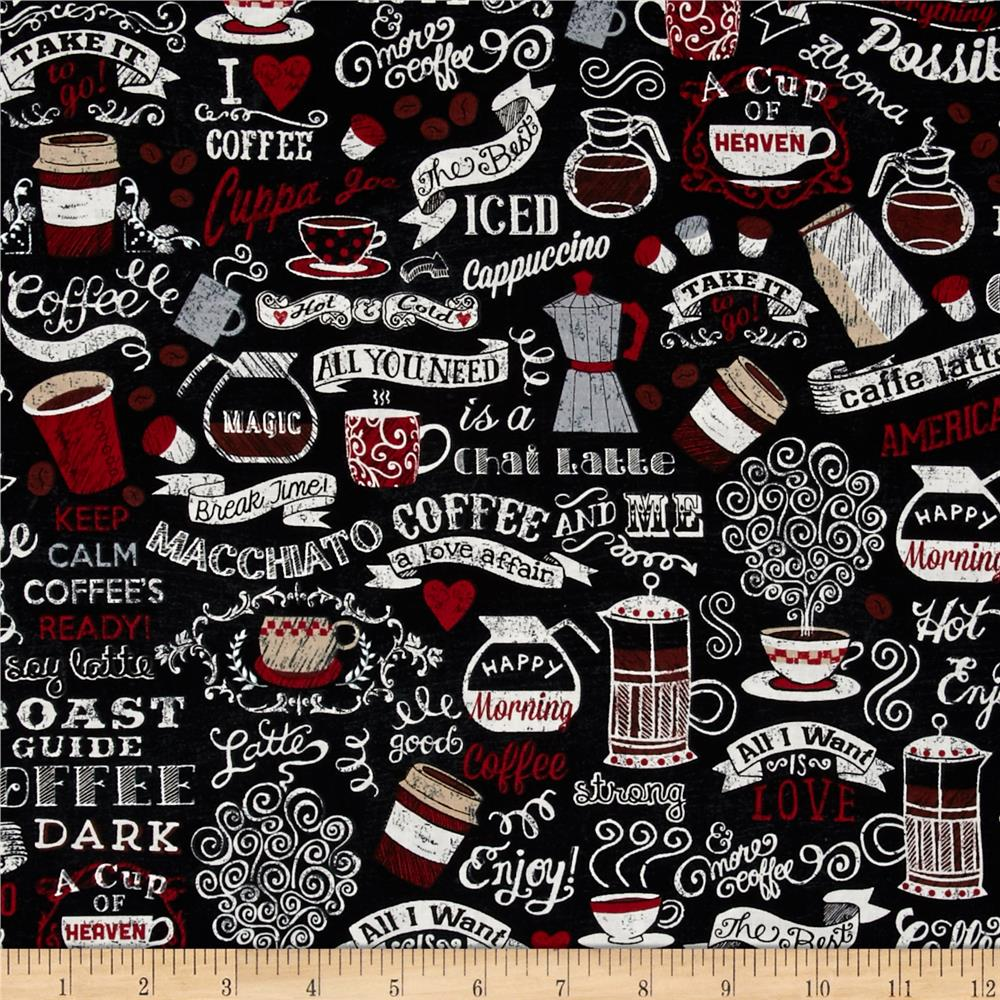 Timeless Treasures Coffee House Words Charcoal