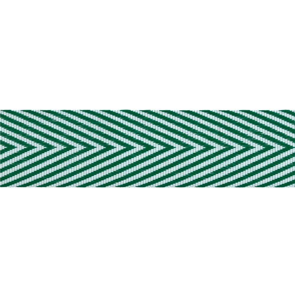 "3/4"" Twill Tape Chevron Stripes Green"