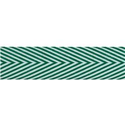 3/4'' Twill Tape Chevron Stripes Green