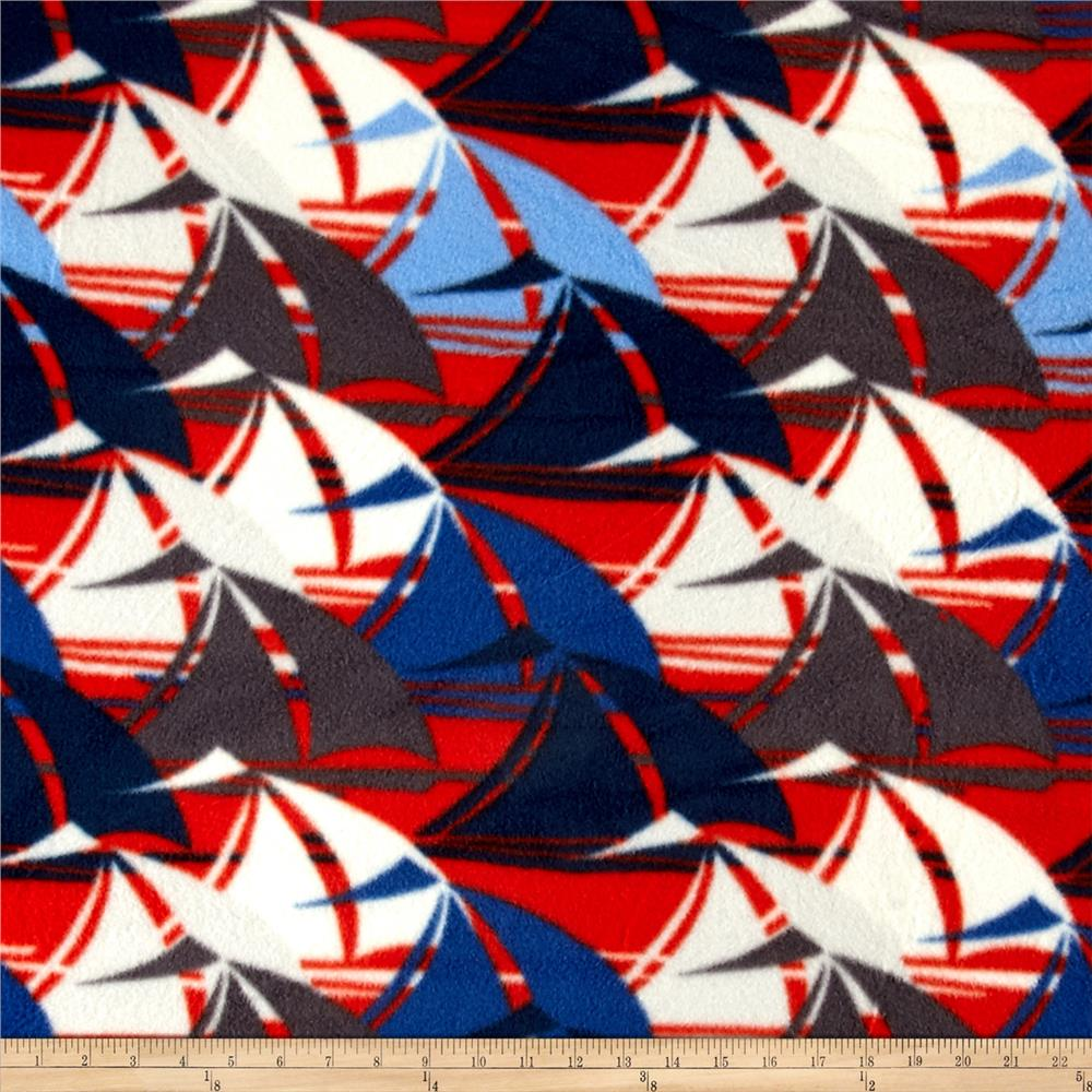 Printed Fleece Sail Boats Navy