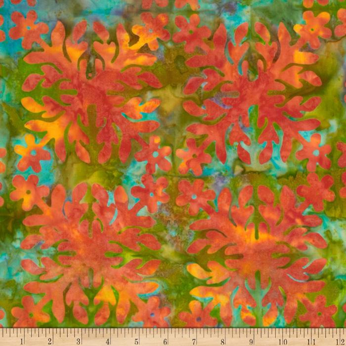 Bali Batiks Square Flower Green