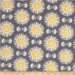 Vintage Sunshine Paisley Sun Grey Fabric