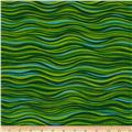 Laurel Burch Sea Spirits Metallic Waves Green