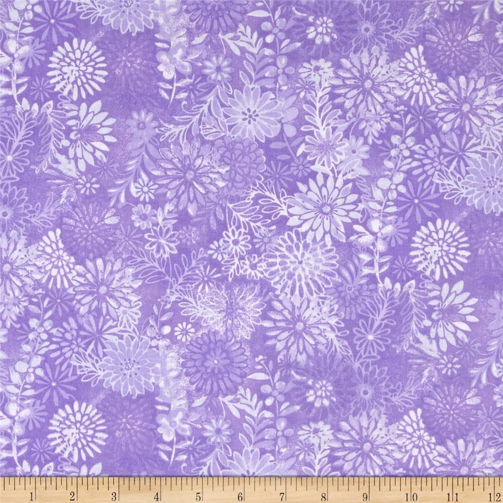 "108"" Wide Quilt Back Packed Floral Purple"