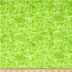 108'' Wide Quilt Back Flannel Swirly Scroll Lime