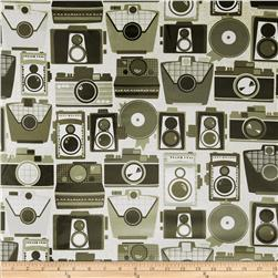 Michael Miller Laminated Cameras Neutral