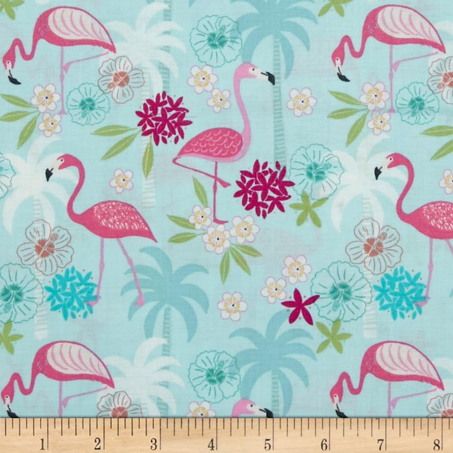 Tropicana Flamingos & Palms Light Blue