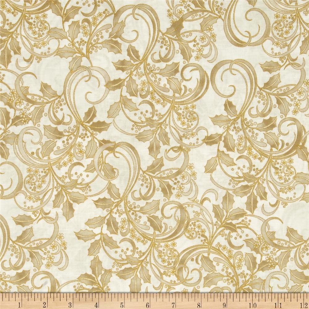 Winter Blossom Metallic Holly Scroll Natural/Gold