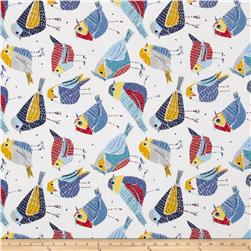 Tempo Indoor/Outdoor Chickadees White/Blue/Red Fabric