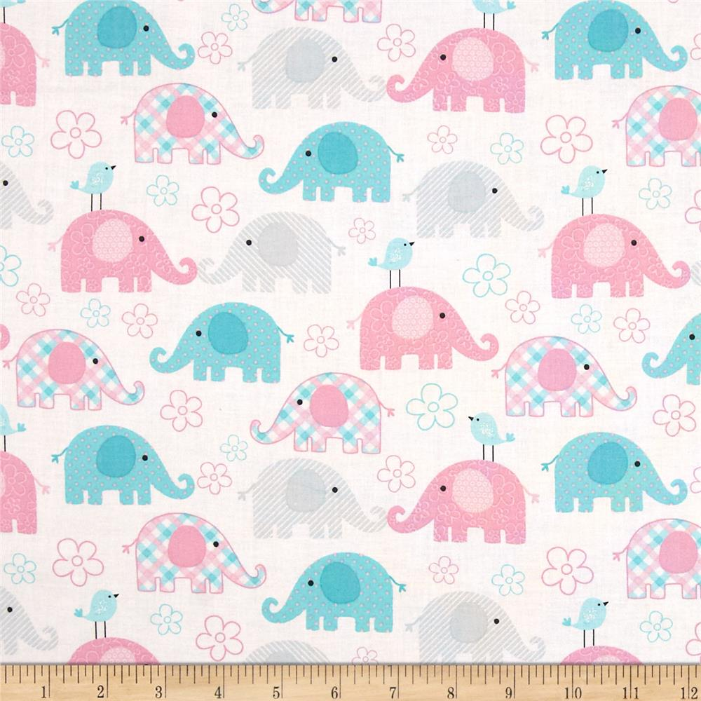 Child 39 s play elephants pastel discount designer fabric for Kids drapery fabric