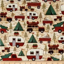 Woodland Retreat Flannel Cars & Campers Allover Beige