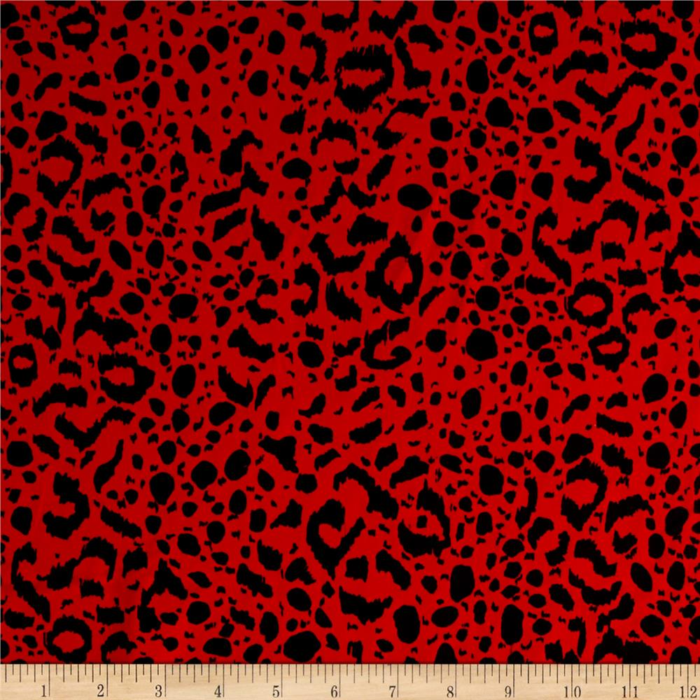 Swim Activewear Spandex Knit Animal Skin Black Red