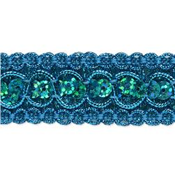 "7/8"" Trish Sequin Metallic Braid Trim Roll Turquoise"