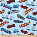 Timeless Treasures Tossed Train Cars Blue