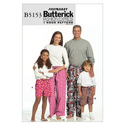 Butterick Misses'/ Men's/ Children's/ Boys'/ Girls' Shorts and Pants Pattern B5153 Size ADT