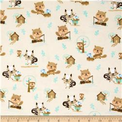 Comfy Flannel Woodland Critters Playing Cream