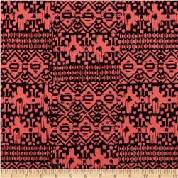 Cotton Spandex Jersey Knit Tribal Peach/Black